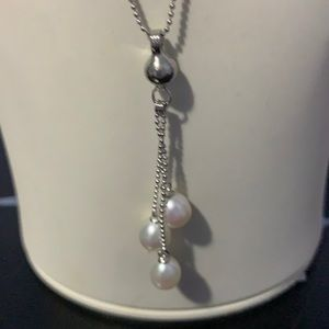 NWT cultured freshwater Pearl St silver necklace